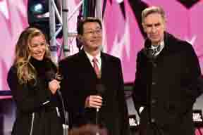NEW YORK, NY - DECEMBER 31: (from left) Allison Hagendorf, Chairman and CEO of Toshiba America, Inc Fumio Otani and Bill Nye on stage during New Year's Eve celebrations at Times Square on December 31, 2015 in New York City.  (Photo by Eugene Gologursky/Getty Images for TOSHIBA CORPORATION) *** Local Caption *** Allison Hagendorf; Fumio Otani; Bill Nye