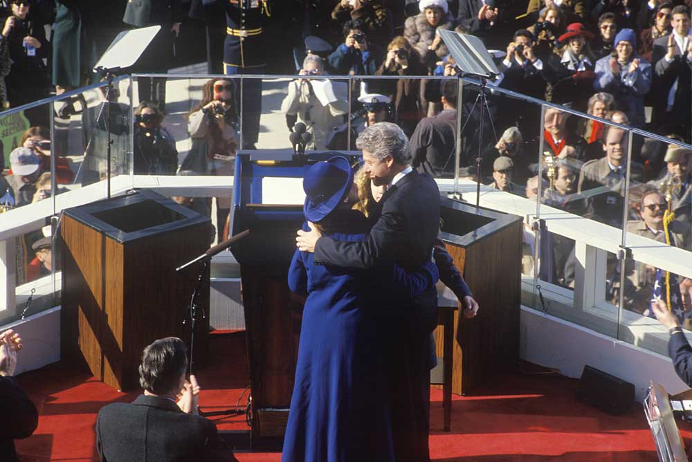 Bill Clinton with Hillary and Chelsea on inauguration day