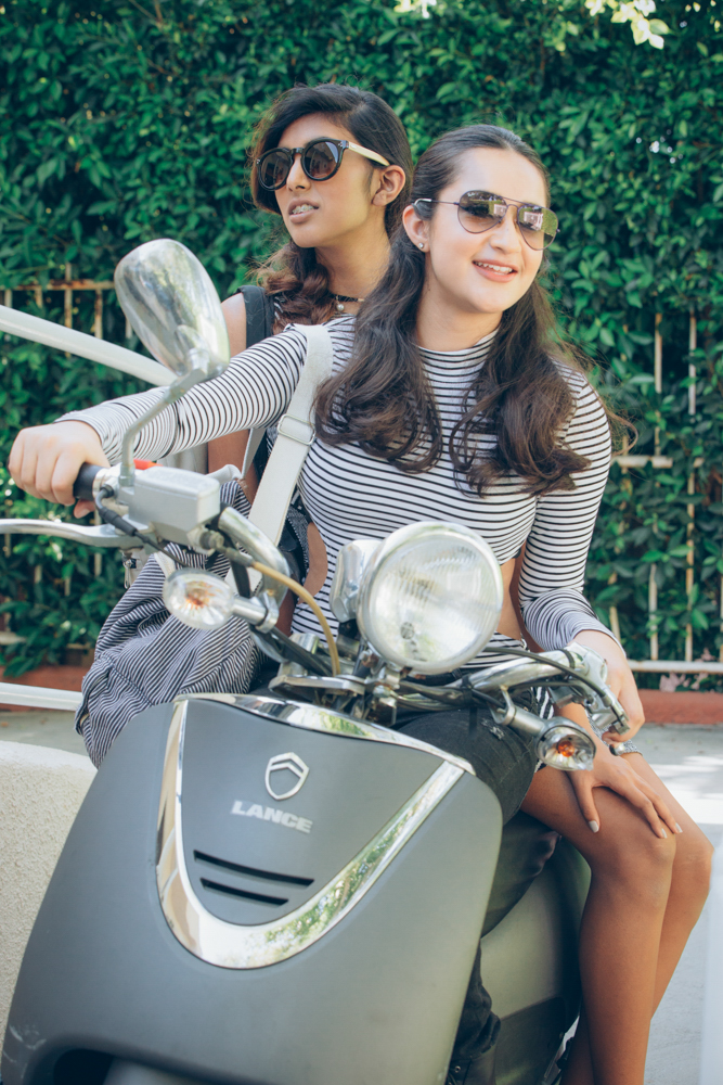 Models Zoya and Ehra are BFFs on their way to class in our Tween to Seventeen fashion Editorial (Photo: Ash Gupta 838 Media Group)