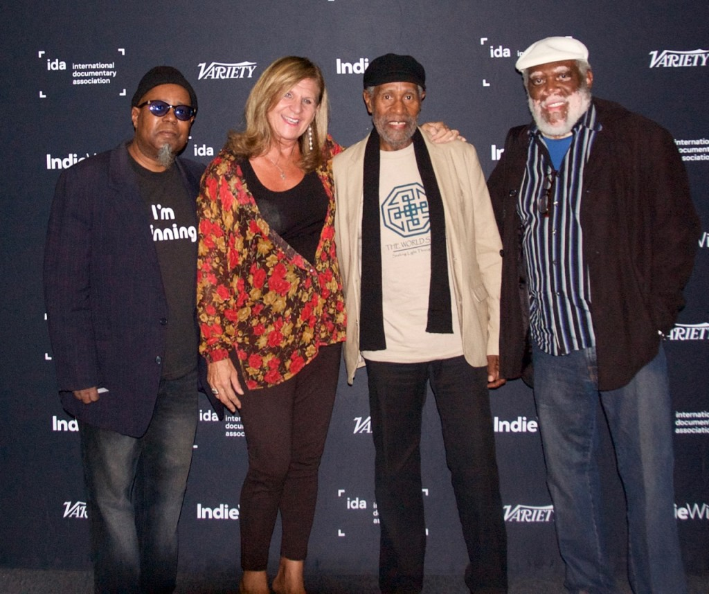 Director of the World Stage/jazz vocalist, Dwight Trible, Sheryl Aronson, Bennie Maupin, and Filmmaker, Paul Sabu Rogers.